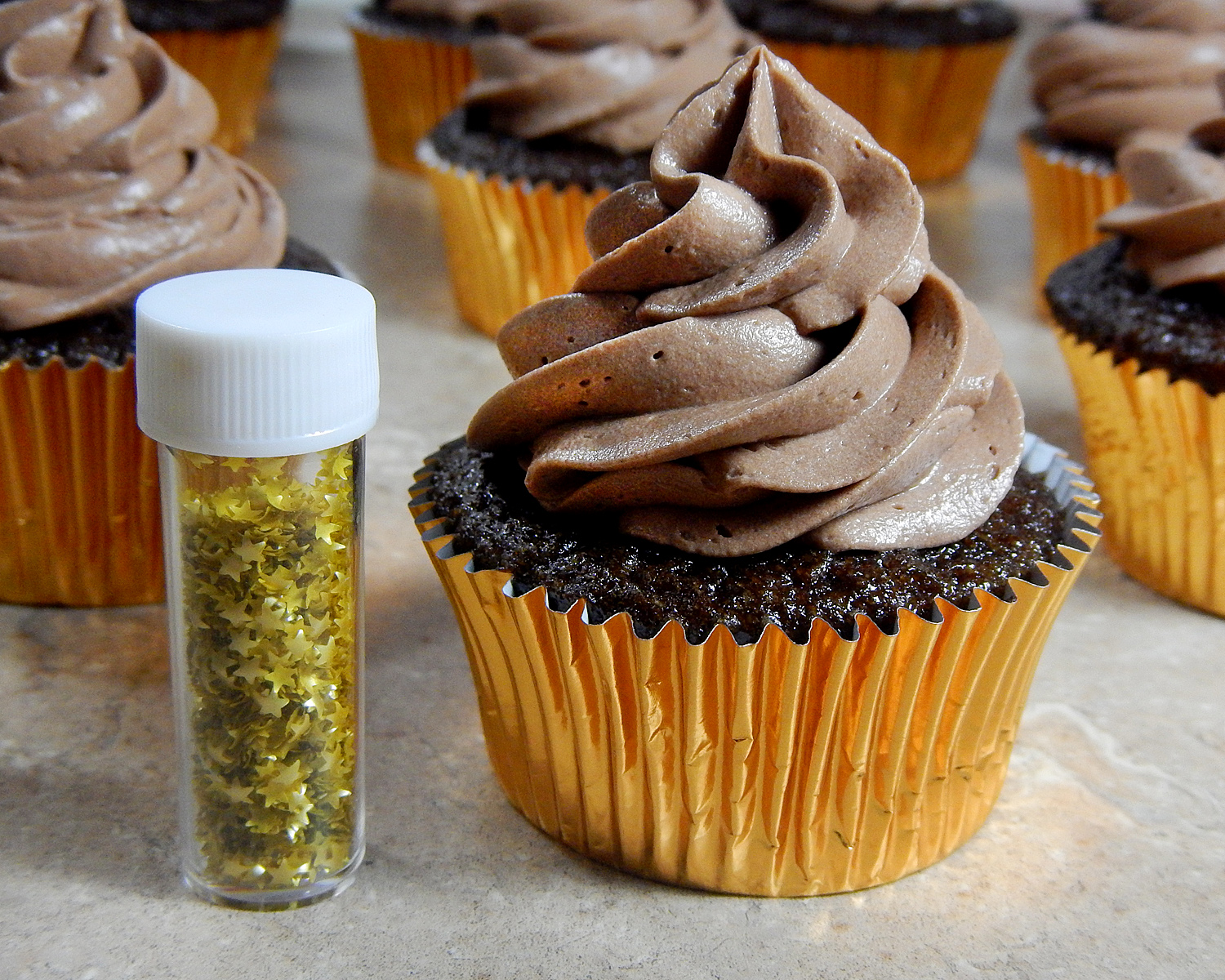 Chocolate Cupcake with Star Glitter