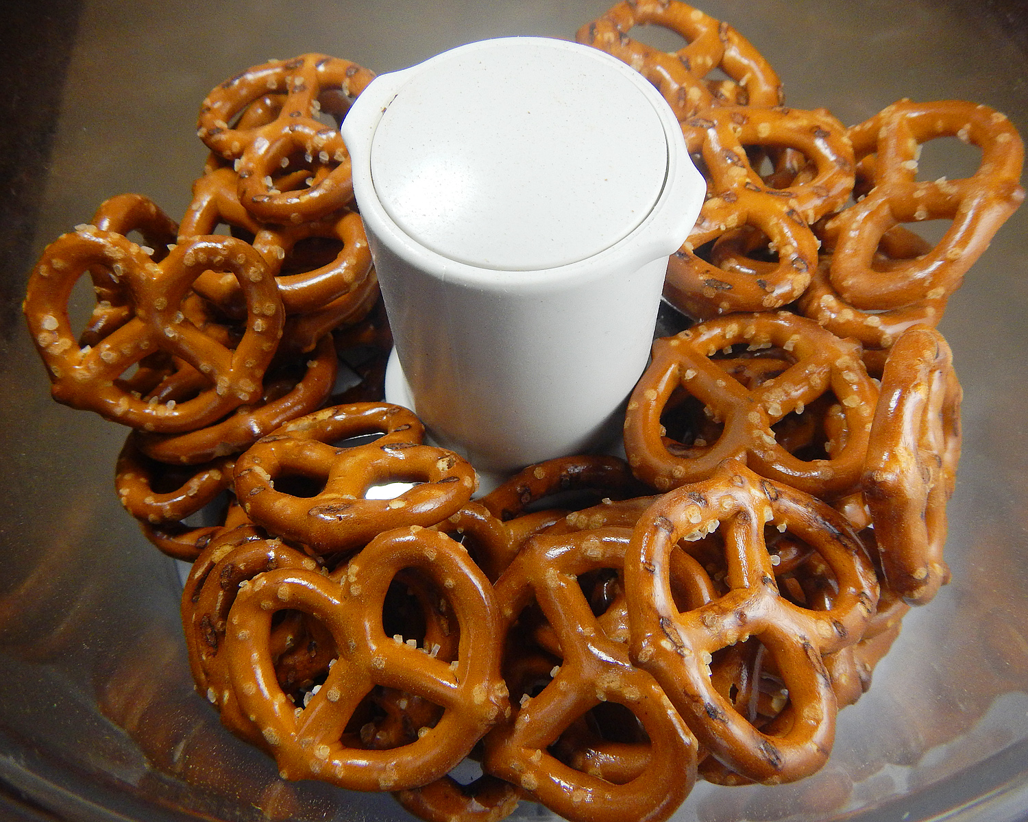 Pretzels in a food processor