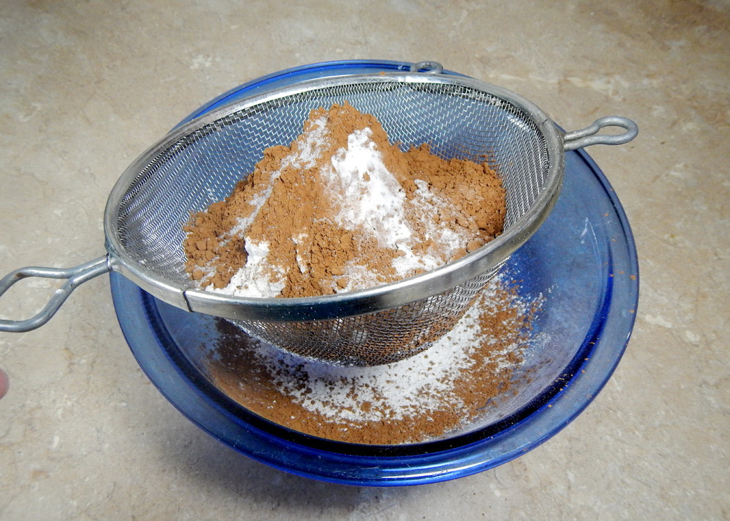 Flour and Cocoa in Sifter