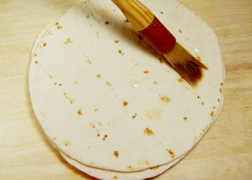 Brushing Flour Tortillas With Butter