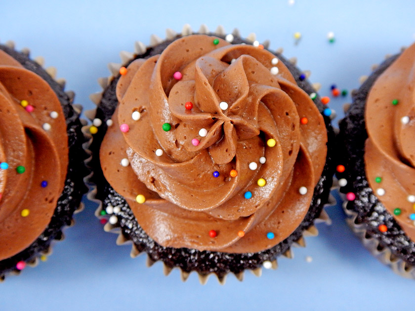 Chocolate Cupcakes with Chocolate Frosting and rainbow Sprinkles