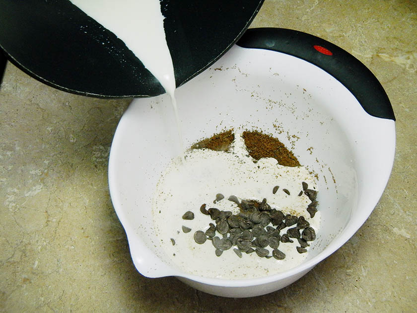 Pouring Hot Cream into Cookies and Chocolate Chips
