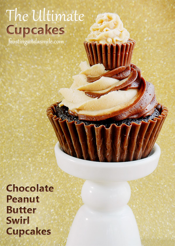 The Ultimate Chocolate Peanut Butter Swirl Cupcakes
