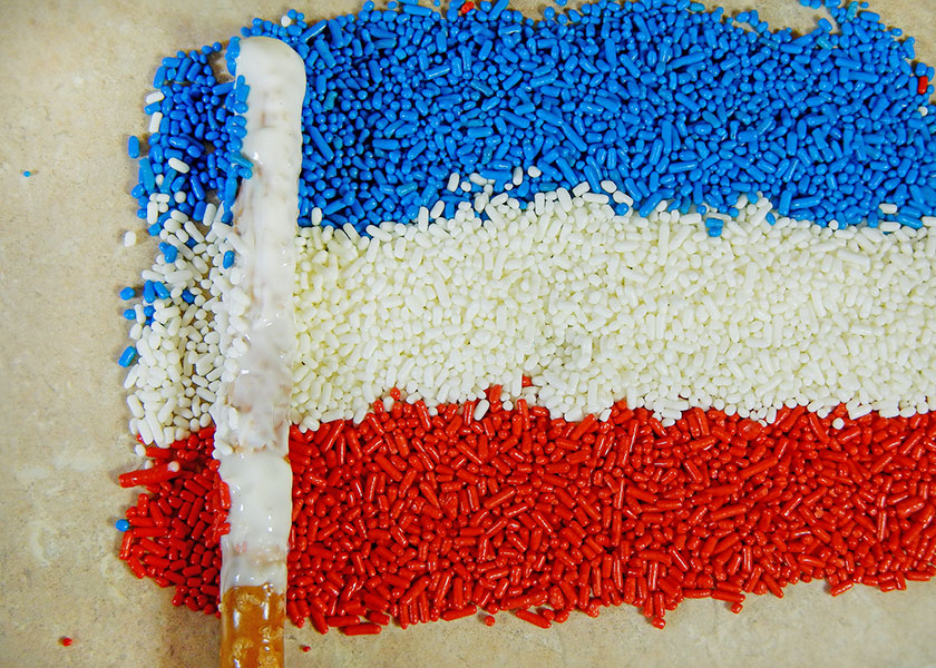 Flag sprinkles with a pretzel